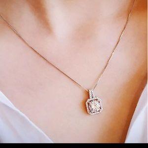 Jewelry - Lab-Created Halo Cushion-cut Diamond Necklace!